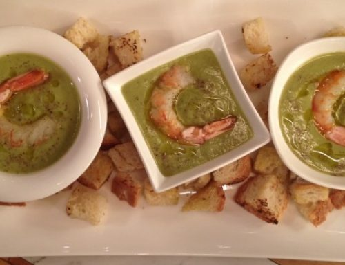 Cream of broad beans with prawns and Bergamia