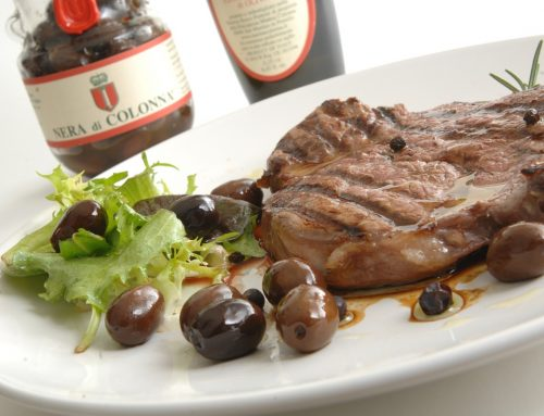 "BEEF FILLET MARINATED IN ARANCIO OIL WITH ""NERA DI COLONNA"" BLACK OLIVES"