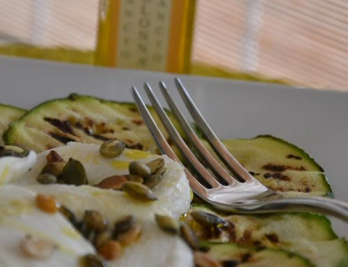 Grilled zucchini with buffalo mozzarella, pumpkin seeds, Arancio oil and mint leaves
