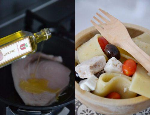 Paccheri con pesce spada al ginepro, olive e primosale di capra