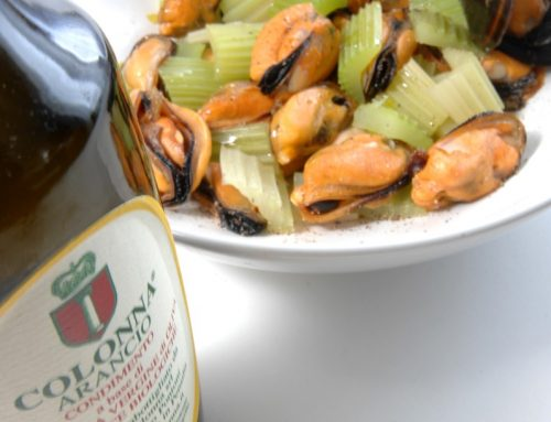 MUSSELS WITH CELERY AND ARANCIO OIL