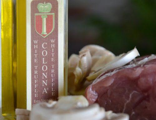 Filetto di maiale con funghi champignon e olio Tartufo